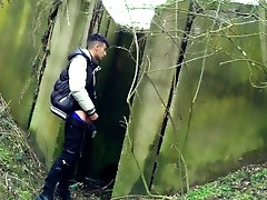 Spy cam under the bridge - Boy jerks off from soft cock till he cums