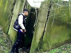 Spy cam under the bridge - Boy jerks off from soft cock till he cums