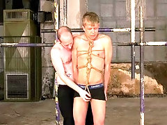 Blond boy tied up