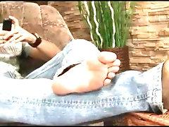 Dark hair twink shows you his feet tease