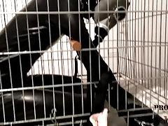 Caged Bondage in Full Rubber
