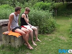 RAWEURO Masseur Martin Polnak Cums On Twink Belly Outdoors