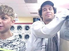 Daniel Hausser hard at public laundromat (funny)