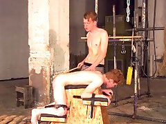 Skinny submissive twink BDSM dominated by his rough master