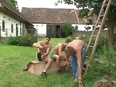 Sexy farmers wash their dicks outside