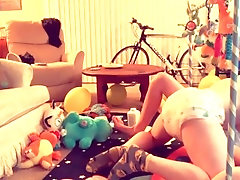 """BDL twink boy """"LittleAxelRose"""" getting diaper fucked & babied by Hunky ABDL"""