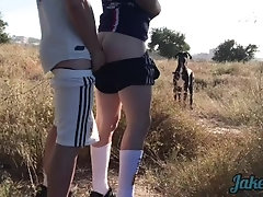 Blond Twink gets A brutal Cumshot in The Field