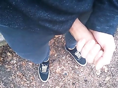Edging in public in a forest with my tight skinny jeans